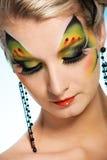 Schoonheid met vlinder gezicht-kunst Stock Fotografie