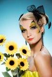 Schoonheid met vlinder gezicht-kunst Stock Afbeelding
