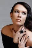Schoonheid met zwart haar Royalty-vrije Stock Foto's
