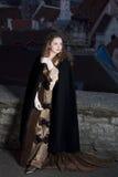 Schoonheid in middeleeuwse kleding Stock Afbeelding