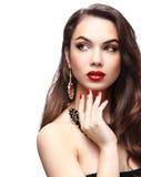 Schoonheid ModelWoman met Lang Bruin Golvend Haar royalty-vrije stock fotografie
