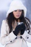 Schoonheid op sneeuw in openlucht Royalty-vrije Stock Afbeeldingen