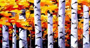 Schoonheid van Autumn Forest - Acryl bij canvas het schilderen Stock Afbeeldingen