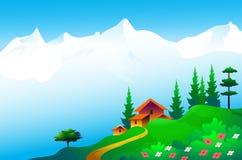 Schoonheid van Himalayagebergte - Vectorillustratie Stock Foto's
