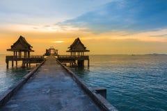 Schoonheid van zonsonderganghorizon over de oceaan Royalty-vrije Stock Afbeelding