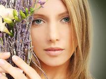 Schoonheid - vrouw, de lentemake-up Stock Fotografie