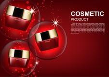 Schoonheids kosmetische die advertenties, vochtinbrengende crème met rood bellenlicht wordt geplaatst Stock Afbeeldingen