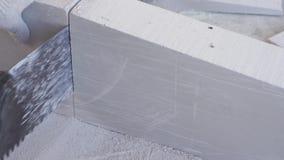 Schoonheids langzame motie in bouw en reparatie - mannelijke tong-en-groefblokken van het bouwers zagende gips stock footage