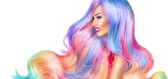 Schoonheids modelmeisje met kleurrijk geverft haar stock fotografie