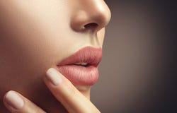Schoonheids sexy vrouw met natuurlijke make-up en beige nailpolish stock fotografie