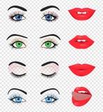 Schoonheids vrouwelijke oog en lip Royalty-vrije Stock Afbeelding