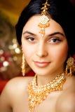 Schoonheids zoet Indisch meisje in het glimlachen van Sari Royalty-vrije Stock Afbeeldingen