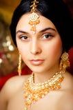 Schoonheids zoet Indisch meisje in het glimlachen van Sari Stock Foto