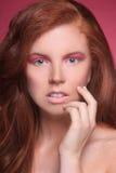 Schoonheidsbeeld van een Mooie en Gelukkige Vrouw Stock Fotografie