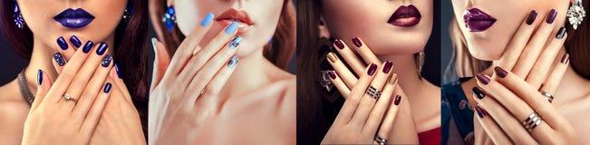 Schoonheidsmannequin die met verschillend samenstelling en spijkerontwerp juwelen dragen Reeks van manicure Vier modieuze blikken stock foto