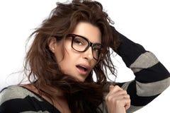 Schoonheidsmannequin Girl With Eyeglasses Koele In Eyewear Stock Afbeelding