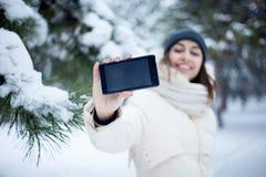 Schoonheidsmeisje de de winterachtergrond Stock Foto's