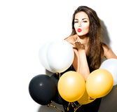 Schoonheidsmeisje met kleurrijke ballons Stock Foto
