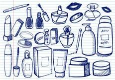 Schoonheidsmiddel dat op voorbeeldenboekachtergrond wordt geplaatst vector illustratie