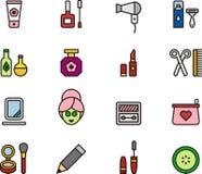 Schoonheidsmiddel en schoonheidspictogrammen Royalty-vrije Stock Afbeeldingen