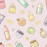 Schoonheidsmiddel-op-roze-patroon stock illustratie