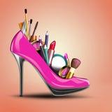 Schoonheidsmiddelen in de schoen die van een vrouw worden geplaatst. Vector Illustratie