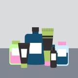 Schoonheidsmiddelen en Geneeskundeflessen Vector illustratie Stock Afbeeldingen