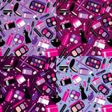 Schoonheidsmiddelen en make-up naadloos patroon De elementen voor maken omhoog, bru Royalty-vrije Stock Foto