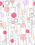 Schoonheidsmiddelen en nadruk Makeup Naadloos patroon De stijl van de manier achtergrond voor schoonheidssalon Schets of slag, di stock illustratie