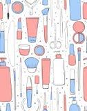Schoonheidsmiddelen en nadruk Makeup Naadloos patroon Schoonheidszaal Pastelkleur roze en blauwe kleur In stijl, die met de hand  stock illustratie