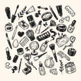 Schoonheidsmiddelen en samenstelling reeks Stock Afbeelding