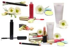 Schoonheidsmiddelen op wit - make-upreeks stock fotografie