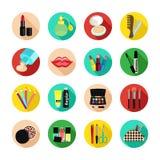 Schoonheidsmiddelen vector vastgesteld pictogram Multicolored pictogrammen met cosmetischee producten en de elementen Royalty-vrije Stock Foto