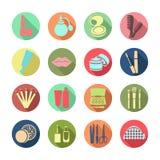 Schoonheidsmiddelen vector vastgesteld pictogram Multicolored pictogrammen met cosmetischee producten en de elementen Stock Afbeeldingen