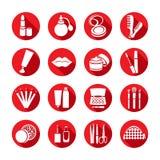 Schoonheidsmiddelen vector vastgesteld pictogram Witte pictogrammen met cosmetischee producten en de elementen Royalty-vrije Stock Foto