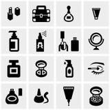 Schoonheidsmiddelen vectordiepictogrammen op grijs worden geplaatst Stock Afbeeldingen