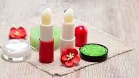 Schoonheidsmiddelen voor de zorg van de lippenhuid met exemplaarruimte royalty-vrije stock foto
