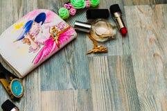 Schoonheidsmiddelenpatroon De hand schilderde naadloze textuur met maakt omhoog AR Stock Fotografie
