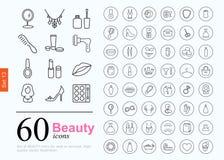 60 schoonheidspictogrammen Royalty-vrije Stock Foto