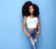 Schoonheidsportret van jong Afrikaans Amerikaans meisje royalty-vrije stock afbeeldingen