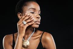 Schoonheidsportret van jong mooi etnisch Afrikaans meisje stock foto's
