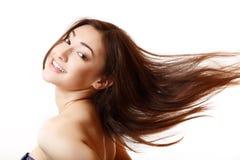 Schoonheidsportret van mooie jonge het glimlachen vrouwen gelukkige extatisch Stock Afbeeldingen