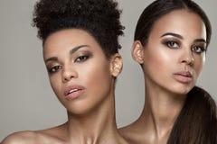 Schoonheidsportret van twee Afrikaanse Amerikaanse meisjes stock afbeelding