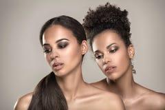 Schoonheidsportret van twee Afrikaanse Amerikaanse meisjes royalty-vrije stock afbeelding