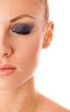 Schoonheidsportret van vrouw met perfecte make-up, volledige smokeyogen, Stock Afbeeldingen