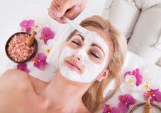 Schoonheidsspecialist die gezichtsmasker op gezicht van vrouw toepassen royalty-vrije stock foto's