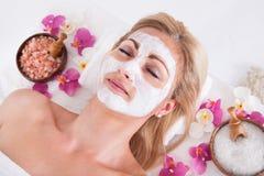 Schoonheidsspecialist die gezichtsmasker op gezicht van vrouw toepassen stock afbeeldingen
