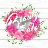 Schoonheidsverkoop het Van letters voorzien met Bloeiend Bloemen en blad Stock Foto's