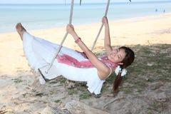 Schoonheidsvrouw en het Strand Royalty-vrije Stock Afbeelding