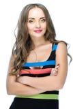 Schoonheidsvrouw in gekleurde streepkleding Royalty-vrije Stock Afbeelding